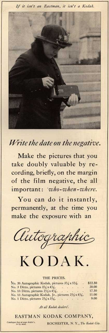 Kodak's Autographic cameras – Write the data on the negative. (1915)