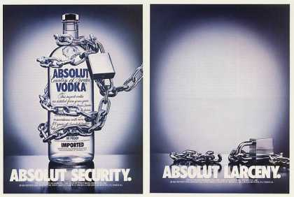 Absolut Security Larceny Chain Vodka Bottle 2-P (1988)