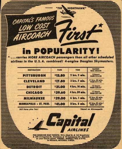 Capital Airline's Aircoach – Capital's Famous Low Cost Aircoach: First in Popularity (1947)