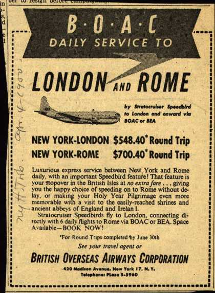 British Overseas Airways Corporation's London and Rome – BOAC DAILY SERVICE TO LONDON AND ROME (1950)