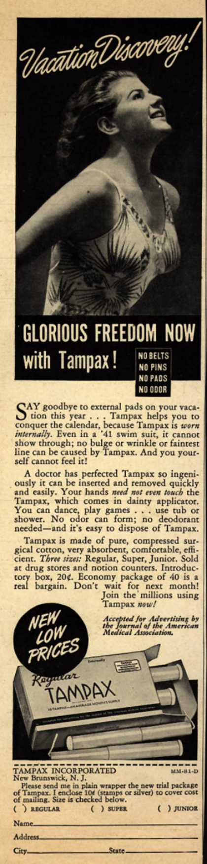 Tampax's Tampons – Vacation Discovery! Glorious Freedom Now with Tampax (1941)