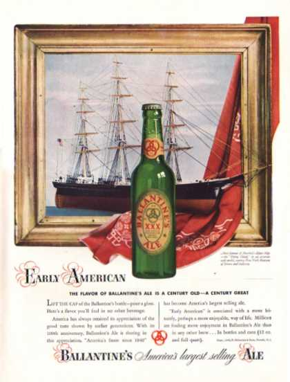Ballantine's Ale Ad Clipper Ship Floating Cloud (1940)