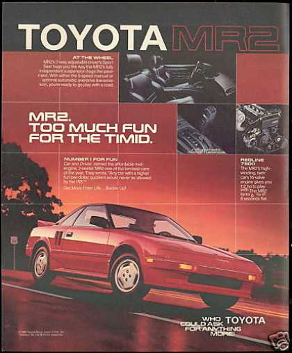 Red Toyota MR2 MR-2 Sports Car Photo (1986)