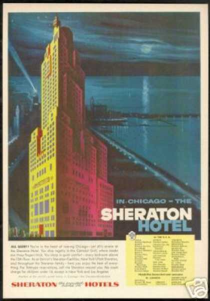 Chicago Sheraton Hotel Evening Art (1956)