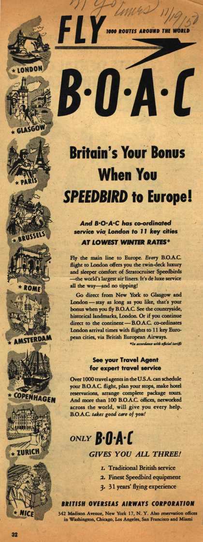 British Overseas Airways Corporation's Speedbird – FLY BOAC Britain's Your Bonus When You SPEEDBIRD to Europe (1950)