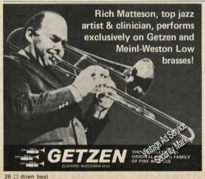Rich Matteson Photo Getzen Trombones (1976)