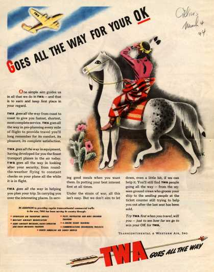 Transcontinental & Western Air – Goes All The Way For Your OK (1944)