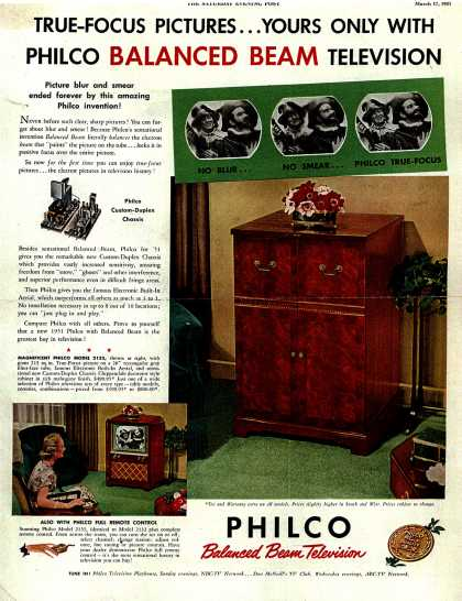 Philco's Television – TRUE-FOCUS PICTURES... YOURS ONLY WITH PHILCO BALANCED BEAM TELEVISION (1951)
