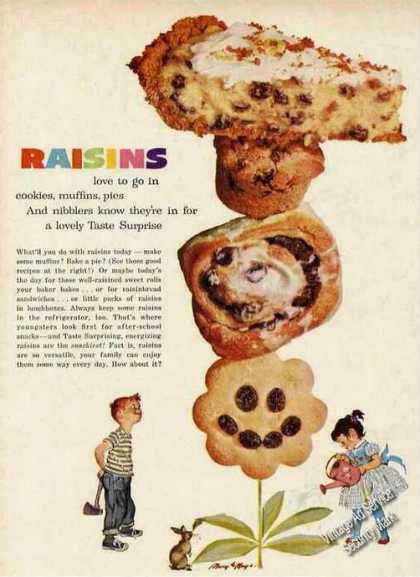 Raisins In Cookie Muffins Pies Ad Nice Art (1961)