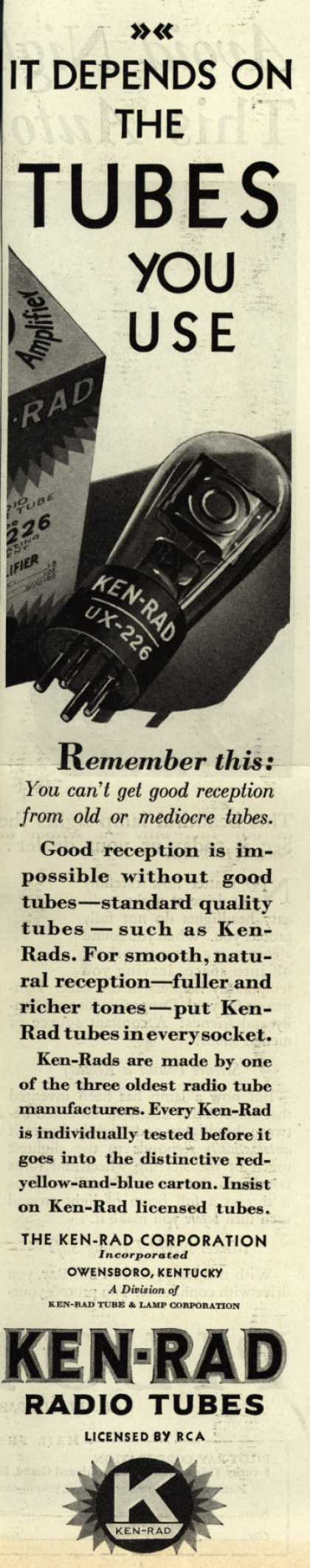 Ken-Rad Radio Tube's Radio Tubes – It Depends on the TUBES You Use (1929)