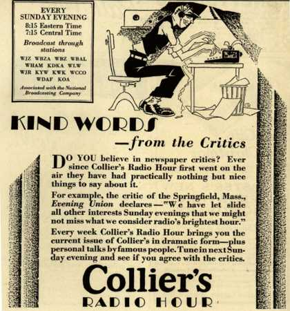 Collier's Magazine's Radio Program – Kind Words – from the Critics (1928)
