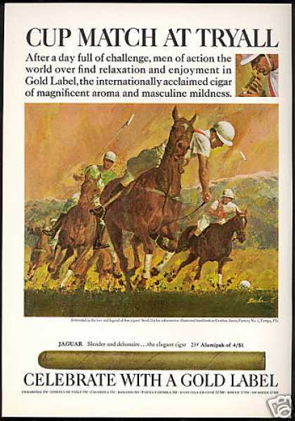 Polo Pony Cup Match Tryall Gold Label Cigar (1968)
