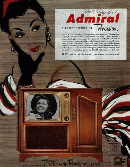 Admiral Corporation's Television – Admiral Clearest Picture in Television (1951)