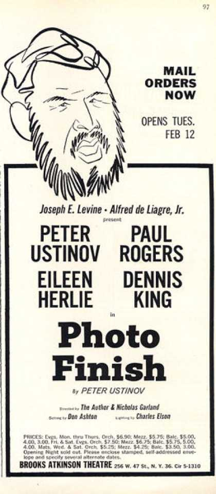 Brooks Atkinson Theatre Photo Finish Ad Ustinov (1963)