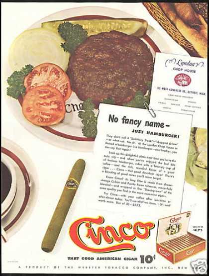 Cinco Cigar London Chop House Detroit Michigan (1946)