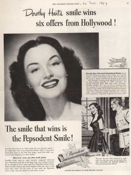 Lever Brothers Company's tooth paste – Dorothy Hart's smile wins six offers from Hollywood (1949)