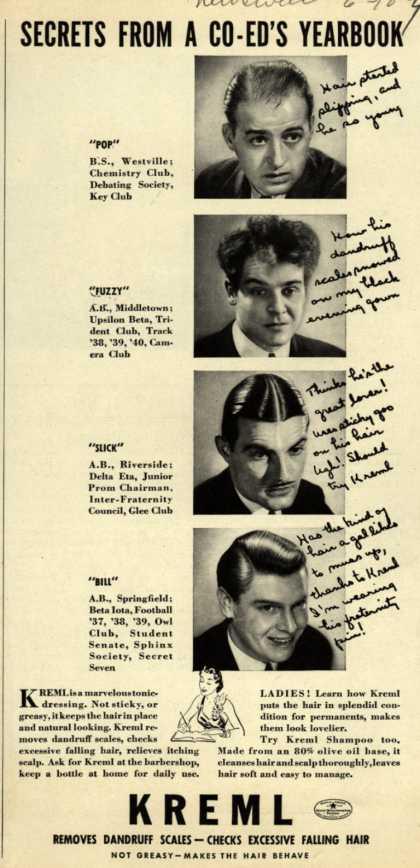 Kreml's hair tonic – Secrets From A Co-Ed's Yearbook (1940)