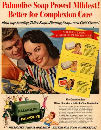 Palmolive Company's Palmolive Soap – Palmolive Soap Proved Mildest! Better for Complexion Care than any Leading Toilet Soap...Floating Soap...even Cold Cream (1954)