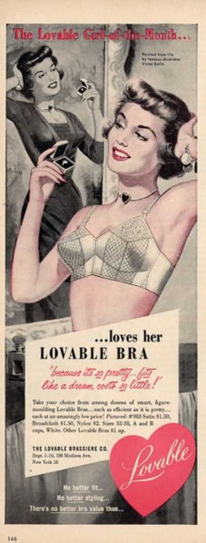 Lovable Woman Bra Victor Kalin Art Ad T (1950)