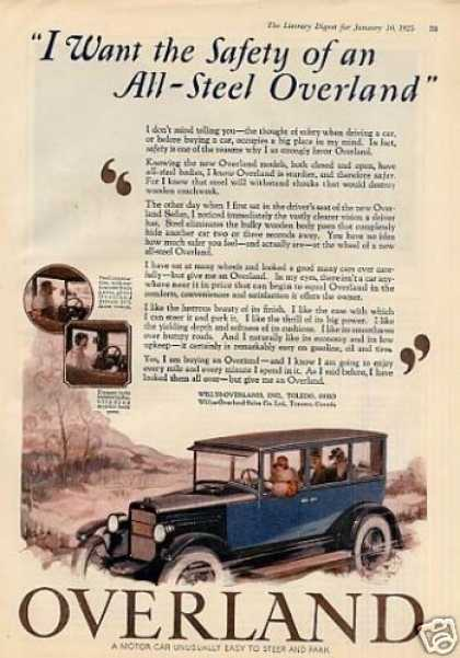 "Willys-overland Car Color Ad ""I Want the Safety.. (1925)"