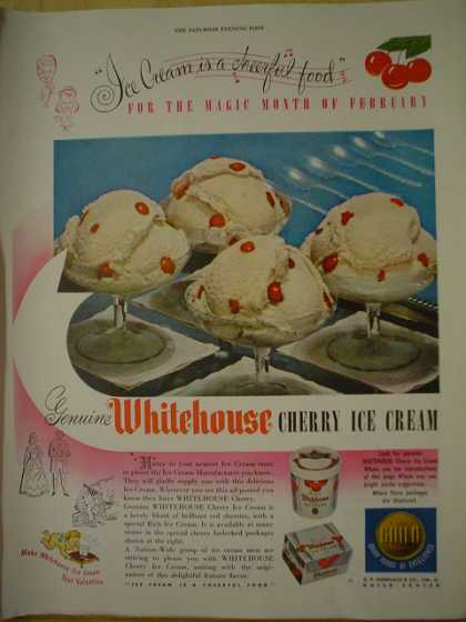 Whitehouse Cherry Ice Cream. For the magic month of February (1950)