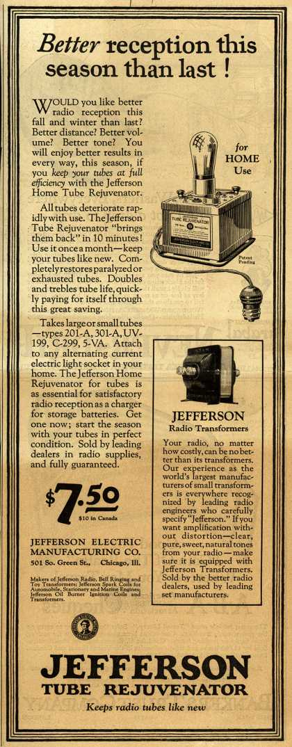 Jefferson Electric Manufacturing Co.'s Tube Rejuvenator – Better reception this season than last (1925)