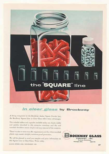 Brockway Square Line Clear Glass Rx Containers (1956)