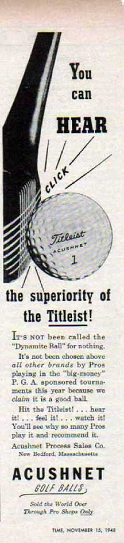 Titleist Acushnet Golf Ball – You Can Hear Click (1948)