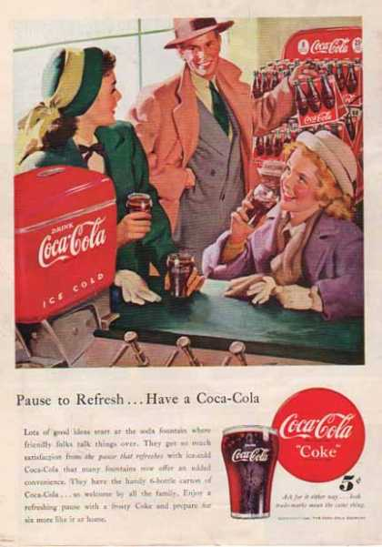 Coke – New 6 Bottle Carton – Pause to Refresh (1948)