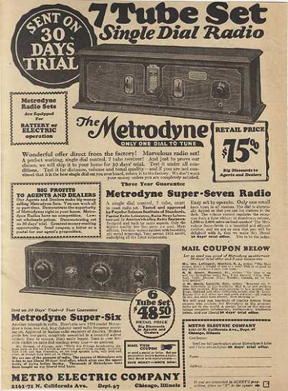 Metro Electric Company's Metrodyne Radio Sets (1927)
