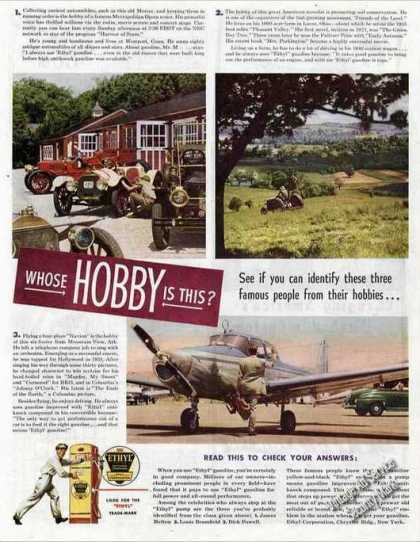 Ethyl Ad Dick Powell Navion Plane & Antique Cars (1947)