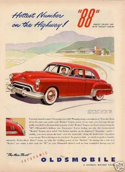 "Oldsmobile ""88"" Car Ad ""Hottest Number On... (1949)"