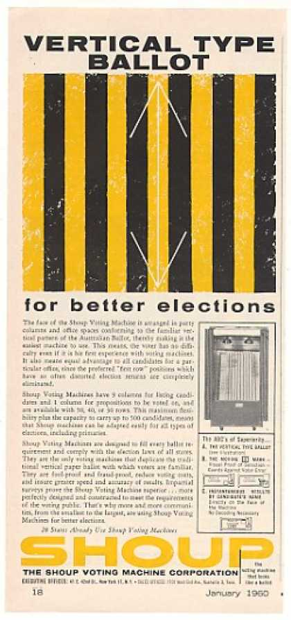 Shoup Vertical Type Ballot Voting Machine (1960)