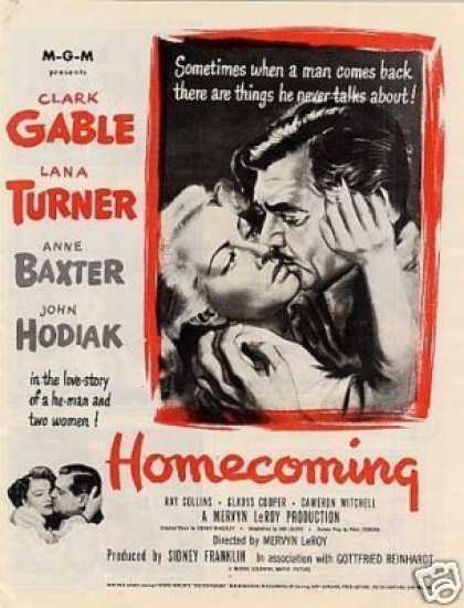 "Movie Ad ""Homecoming"" Clark Gable (1948)"