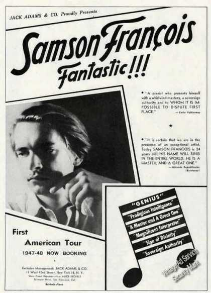 Samson Francois Photo Piano Booking (1947)