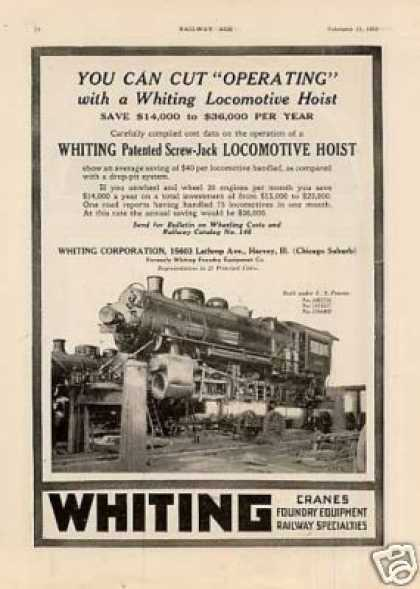Whiting Ad Locomotive Hoist (1922)