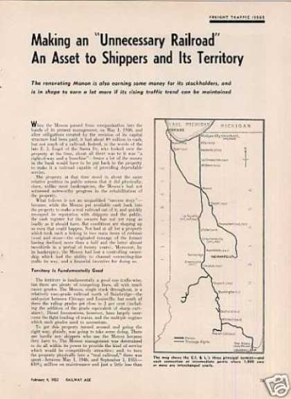 """Making a Railroad an Asset To..."" Article/monon (1952)"