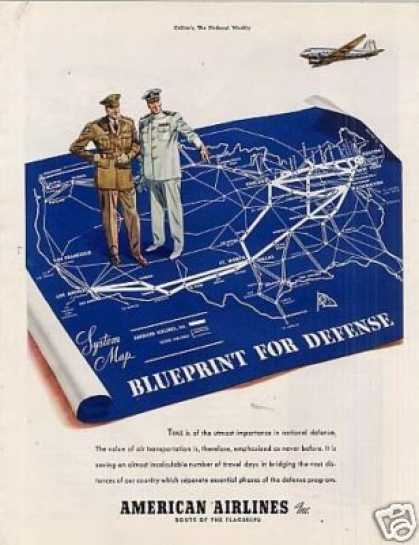 "American Airlines Ad ""Blueprint for Defense... (1941)"