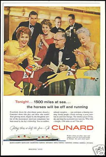 Cunard Cruise Line Horse Race Game Photo (1958)