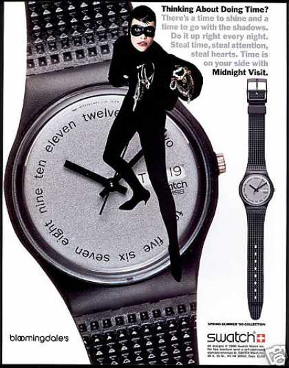 Swatch Swiss Watch Midnight Visit Steal Time (1990)