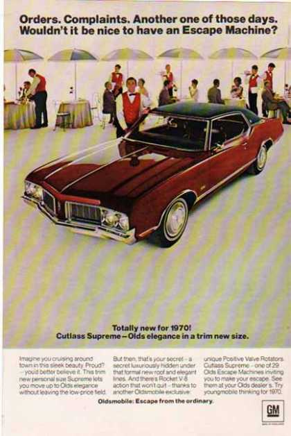 Oldsmobile Car – Cutlass Supreme – Sold (1970)