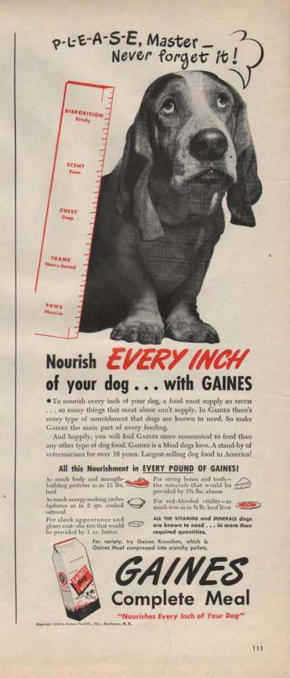 Gaines Complete Dog Meal Food (1946)
