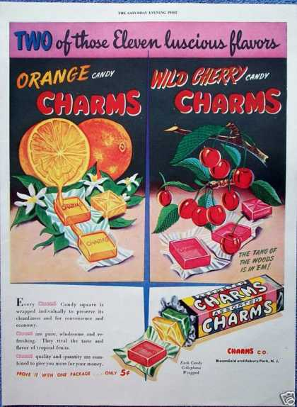 Charms Fruit Candy Square Roll Orange Wild Cherry (1946)