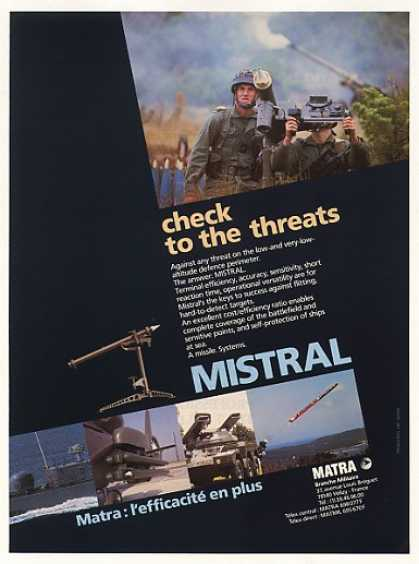 Matra MISTRAL Missile System Photo (1986)