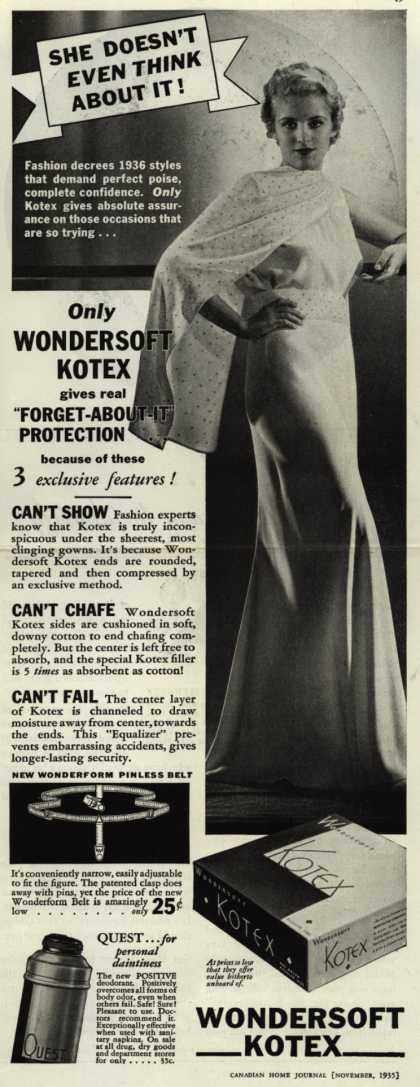 Kotex Company's Wondersoft Kotex and other feminine supplies – She Doesn't Even Think About It (1935)