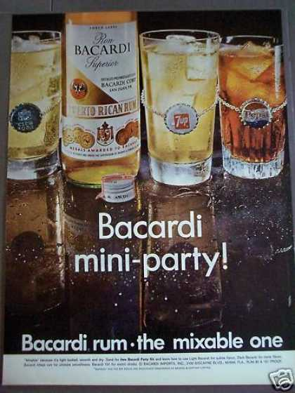 Barcardi Rum Mixed W/ 7-up, Pepsi Soda (1968)