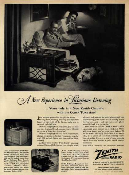 Zenith Radio Corporation's Stereo Systems – A New Experience in Luxurious Listening ...Yours only in a New Zenith Chairside with the Cobra Tone Arm (1948)