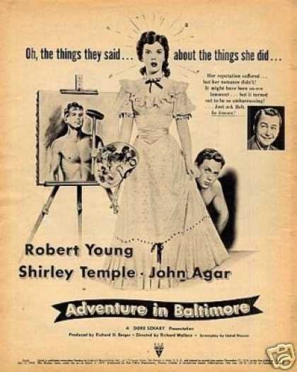 "Movie Ad ""Adventure In Baltimore"" Shirley Temple (1949)"