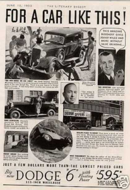 Dodge Six Car Ad 2 Page (1933)
