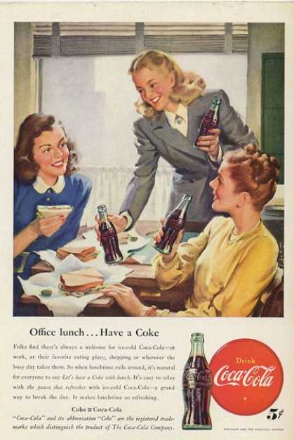 Coca Cola Coke Women Out To Lunch Diner T (1947)